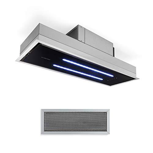 Klarstein High Line Deckenhaube, Einbau, 90 cm, 410 m3/h, Umluft und Abluft, 3 Stufen, LED, Fernbedienung & Aktivkohlefilter, Dunstabzugshaube, Unterbauhaube, Edelstahl/schwarzes Glas