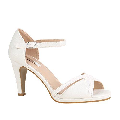 Stiefelparadies Damen Sandaletten Riemchen Lack Glitzer Party Schuhe 157200 Weiss Cut-Outs 39 Flandell
