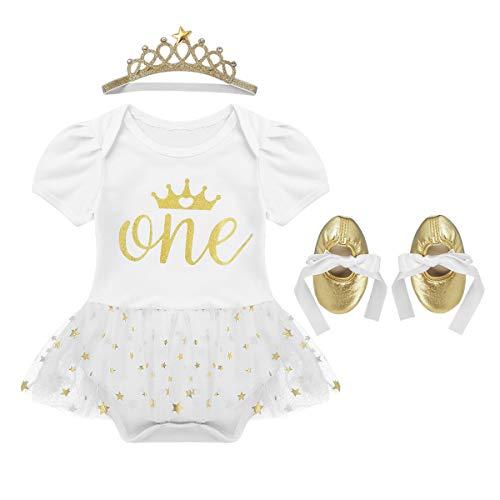 iEFiEL Kleinkinder Baby Mädchen Kleidung Set 1. Geburtstag Outfits festlich Party Kurzarm Body Strampler mit Tutu Rock, Krone Stirnband und Schuhe Elfenbein 9-12 Monate