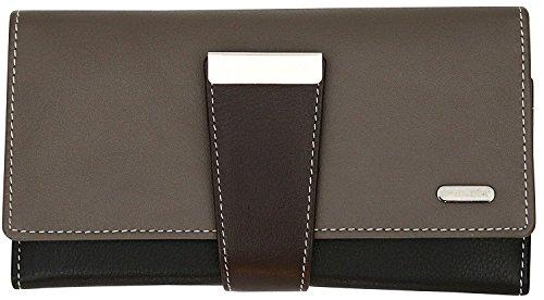 Damen Geldbörse mit 24 Fächern & RFID-Blocker - aus Echtleder - großes Fassungsvermögen - Graubraun Mehrfarbig