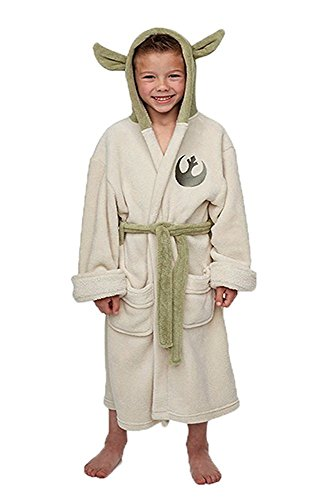 Jedi Ears Fleece Bathrobe Hooded Robe Bademantel für Kinder ()