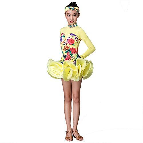 Yzibei Mädchen Schönheitswettbewerb Latin Dance Dress Kostüm Gymnastic Dancewear Kinder Kinder Bühnenshow Wettbewerb Ballroom Dance Dress Stickerei Ballkleid (Farbe : Gelb, Größe : 120)