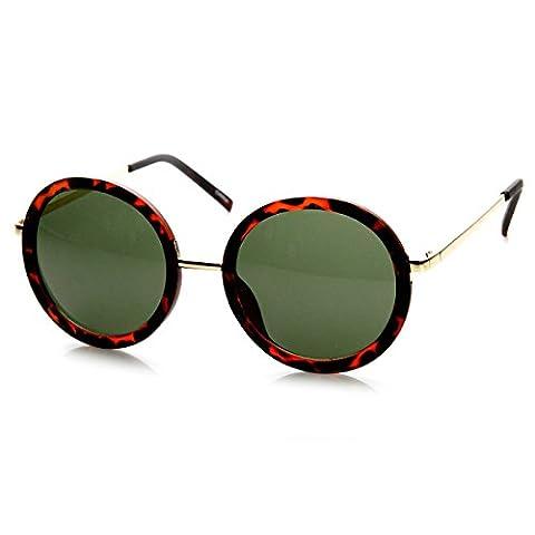 zeroUV - Womens Round Oversized Circle Sunglasses w/ Metal Arms (Matte Tortoise Green)