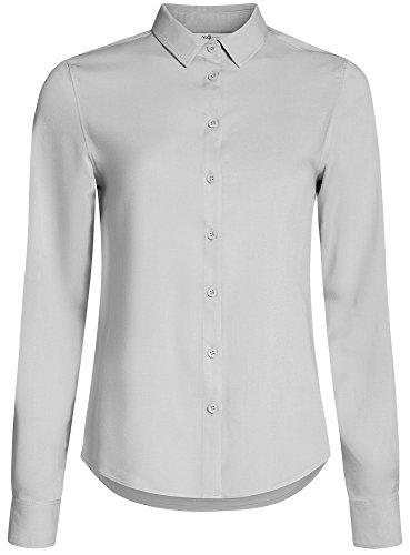oodji Ultra Damen Viskose-Bluse Basic Grau (2000N)