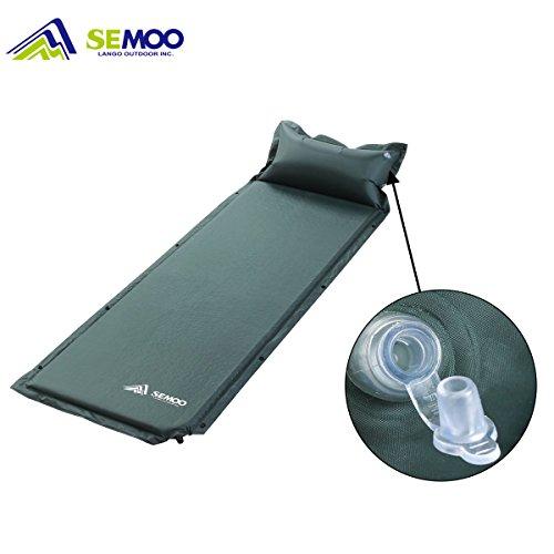 SEMOO Selbst-aufblasende Schlafmatte, Schnellflussventil, wasserabweisende Beschichtung mit anliegendem aufblasbarem Kissen, 190 T Polyester