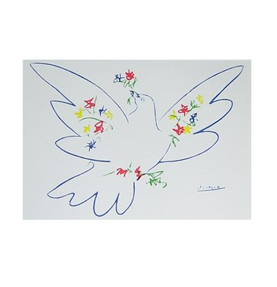 Germanposters Pablo Picasso Taube mit Blumen Poster Bild Kunstdruck 48x46cm Ohne Rahmen