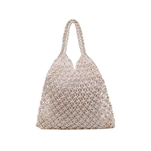 Klassische Webart-gewebe (PoeHXtyy Baumwollseil Strand Weben Einkaufstasche Fischernetz Handtasche Einkaufen Schulter Sommer Tasche für Frauen Mädchen)
