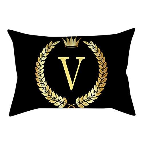 Watopi - Funda de cojín con diseño de Letra Inicial de Oro Negro Vintage y Corona Real...