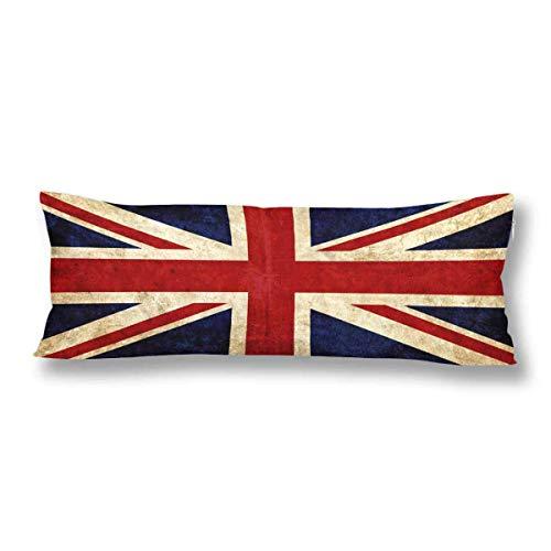 CiCiDi Seitenschläferkissen Kissen-Bezug 40x145 cm Alte englische Union Jack Vintage britische Flagge von Großbritannien Atmungsaktives Kissenhüllen mit Reißverschluss Baumwollen und Polyester -