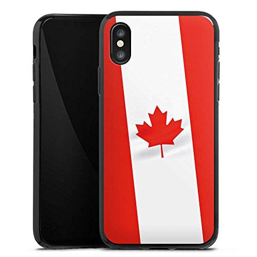 Apple iPhone X Silikon Hülle Case Schutzhülle Kanada Flagge Canada Silikon Case schwarz