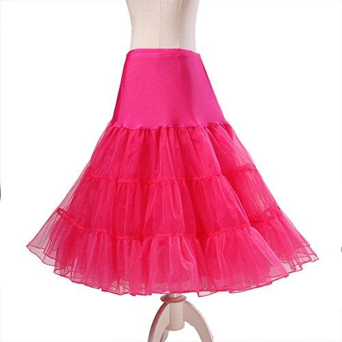 BOOLAVARD® 50er Jahre Petticoat Vintage Retro Reifrock Petticoat Unterrock für Wedding bridal Petticoat Rockabilly Kleid in mehreren Farben Dunkel Rosa
