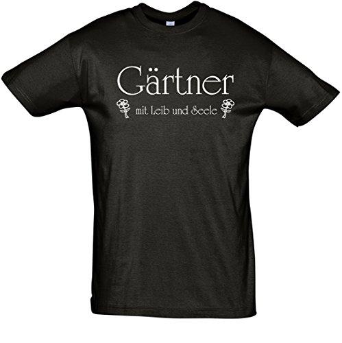 """T-Shirt Fun-T-Shirt """"Gärtner mit Leib und Seele"""" bedruckt mit Folie Schwarz"""