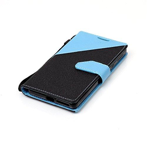 Custodia Xperia E5, ISAKEN Flip Cover per Sony Xperia E5 con Strap, Elegante borsa Tinta Unita Farfalla Design in Sintetica Ecopelle PU Pelle Protettiva Portafoglio Case Cover con Supporto di Stand /  nero+blu chiaro