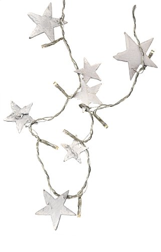 Best Season LED-Lichterkette Nature Star / 16-teilig / Kabel transparent / Holzsterne / Lange 1.50 m / batteriebetrieben / Timer Funktion 726-26