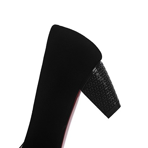 Odomolor Donna Puro Pelle di Mucca Tacco Medio Scarpe A Punta Punta Chiusa Tirare Ballerine Nero