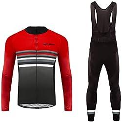 Uglyfrog Bike Wear Designs Maillots de Bicicleta Maillots de Bicicleta Traje de Invierno Hombres Ropa de Ciclo Jersey de Manga Larga + Pantalones Bib Acolchados Cómodo RTMX01