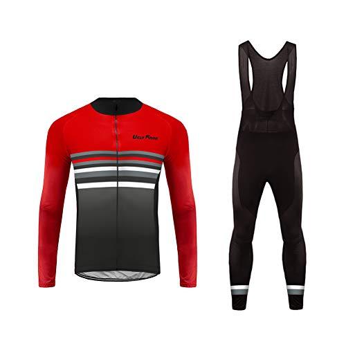 BurningBikewear Uglyfrog Ciclismo Maillots+Pantalones Hombres Bib Set Winter with Fleece de Bicicleta de Ropa de Ciclo ZRMX03F