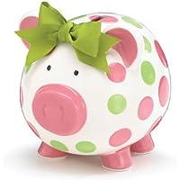 Preisvergleich für Pink & Green Polka Dots Ceramic Piggy Coin Bank