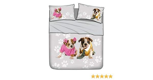I Love Sleeping Completo Lenzuola Bulldog Stampa Digitale Matrimoniale U019