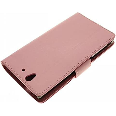 Pink Luxury PU leather Case Magnet Flip Cover with Credit Card / ID Slots Holder For Sony Xperia Z L36H