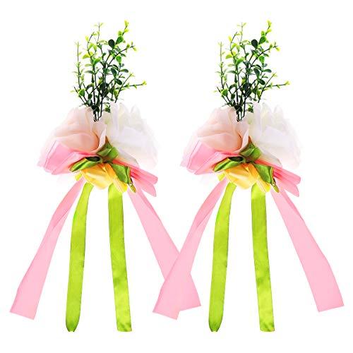 VORCOOL 2 Unids Rosa Flor Artificial Decoración del Coche de Boda Flores...