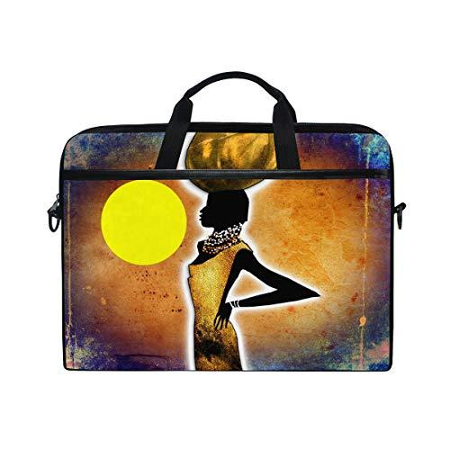 ISAOA Laptoptasche/Laptoptasche/Umhängetasche, Motiv: Afrika, Retro, Vintage-Stil, leicht, für 35,6-39,6 cm (14-15,6 Zoll) Notebooks