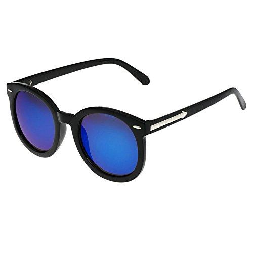 Reisen Black Oval-Rahmen-Blau-Spiegel-Objektiv Retro Brillen Tages Sonnenbrillen