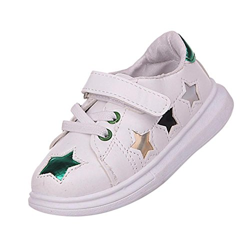Dinglong Children Hook & Loop Flat Trainers - Toddler Kids Baby Sports Skate Soft Star Sneakers Paillette Loafers Shoes - Age 1-6 Years Old Child UK Size 4.5-9
