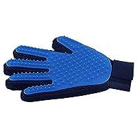Mumoo Bear Pet Grooming Glove Gentle Deshedding Brush Fur Gloves Massage Tool Efficient Dog Cat Hair Remover Blue