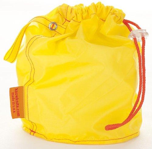 Bolso pequeño para proyectos de punto de cruz, color amarillo con cordón
