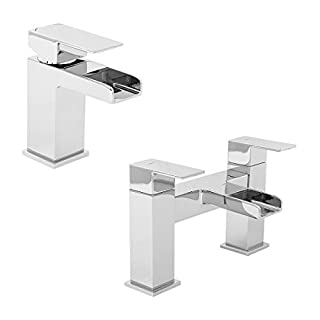 Aquariss Modern Chrome Lever Bathroom Mono Basin Sink Tap & Bath Mixer Filler Dual Double Twin Taps Pack