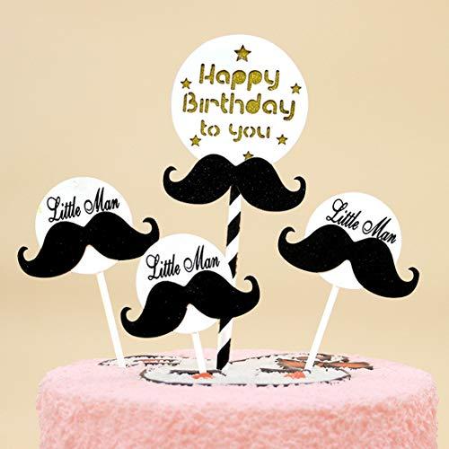 FELICIGG 50 Packungen Bart Stroh 4 Bart Set Happy Birthday Cake Topper Dekoration Gold Pailletten Hochzeit, Braut oder Baby-Dusche (Size : 50pcs)