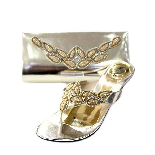 W & W femmes Mesdames Soir Sac Assorti et un confort Chaussures à enfiler Chaussures Diamante mariage talon bloc de bois de santal Taille 4–10(Perk & PECO (Modélisme)) Doré