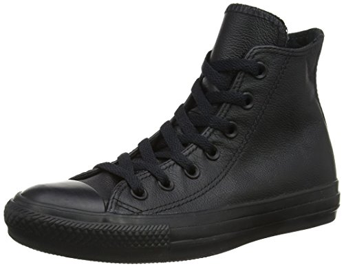 Converse Chucks Taylor All Star Hi Leder, Unisex - Erwachsene Sneaker, Schwarz (Black Mono 001), 44.5 EU (Converse All Star Hi High Top)