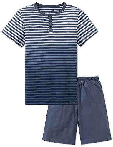 Schiesser Jungen Anzug kurz Zweiteiliger Schlafanzug, Blau (Jeansblau 816), 164 (Herstellergröße: M)
