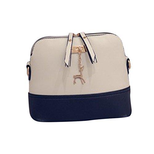 Sac à bandoulière Myleas New Women Sac à main Vintage Small Shell Leather Handbag Blanc