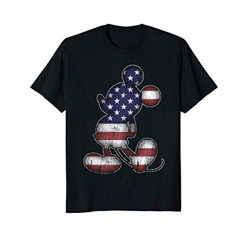 Mens Disney American Mickey Mouse T-Shirt Small Black (Black Needle American)