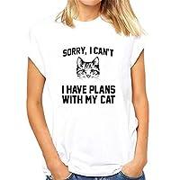GRMO Women Printing Fashion Summer Casual Cat Short Sleeve Top T-Shirt Blouse White 4XS