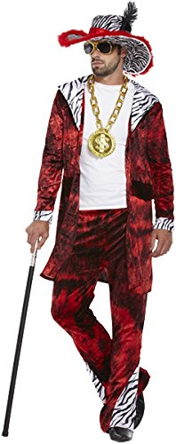 Jahre Kostüm Pimp 70er - Big Daddy Fancy Dress Costume (Red)
