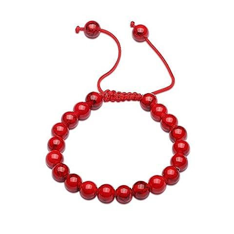FushoP Healing Power Crystal Beads Bracelet à poitrine naturelle à perles réglables (Rouge)