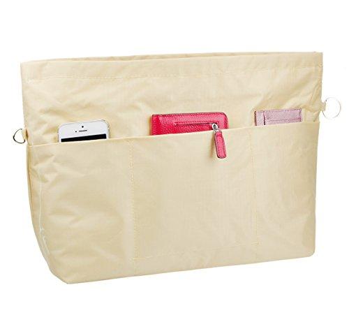 VANCORE Taschenorganizer Innentaschen für Handtaschen, Wasserdicht Nylon, Mittel-Beige (Hat Coach)