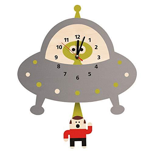 xuyuandass Wanduhren,Uhren,Wecker Alien Abduktion Fliegende Untertasse Weltraum UFO Entführung Pendel Aus Holz Kinderzimmer Ation Geek Geschenk Kann Gut Dekorieren Home Office Kaffee Bar Hotel -