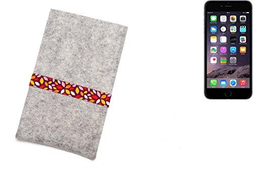 """flat.design Filzhülle """"Lisboa"""" für Apple iPhone 6 Plus - passgenaue Handytasche aus 100% Wollfilz (anthrazit) - made in Germany Schutz Case für Apple iPhone 6 Plus rote Blätter - hellgrau"""