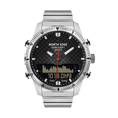 NORTH EDGE FOCUS Sport Clever Geschäft Armbanduhr,Hoch Druck Tief Tauchen Armbanduhr,Dual Anzeige Kompass Multifunktion Hand Tabelle Draussen / Silver2 / Als zeigen