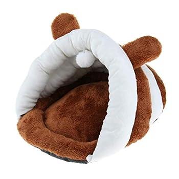 Backbayia Panier Chien Chat de Citrouille Lit Couchage Mobilier en Coton Portable pour Animal Domicile (Marron)