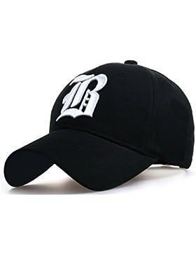 Gorra de béisbol ajustable, de algodón, con letra B bordada, de estilo vintage, unisex B black white L/XL
