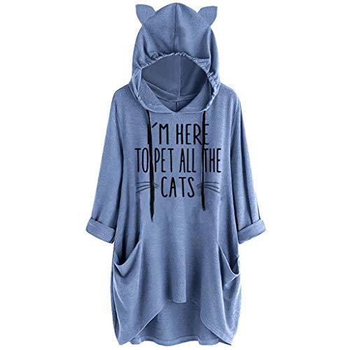 BASACA Damen Kapuzenpullover Hoodie Kapuze Frauen Beiläufiges Druck Katzen Ohr Taschen Oberseiten Blusen Hemd Sweatshirt Langarm Outwear Pulli Pullover Mode (M, A-Blau)