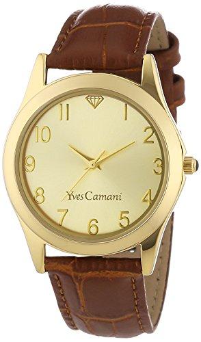 Yves Camani Durance - Reloj de cuarzo para mujeres, con correa de cuero de color marrón, esfera dorada