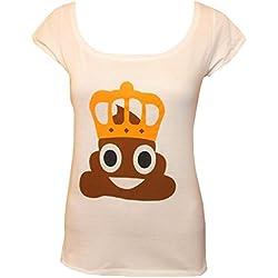 Unbekannt Camiseta de Mujer, diseño de Emoticono de Caca con Corona, Blanco - Large