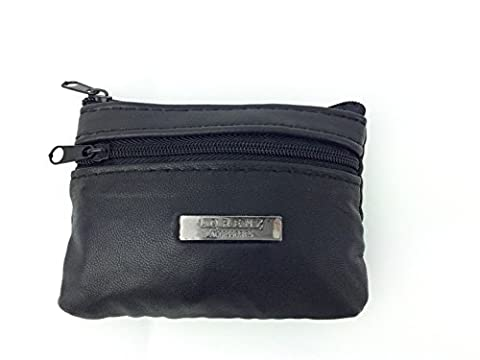 MENS LADIES SOFT BLACK LEATHER COIN POUCH PURSE